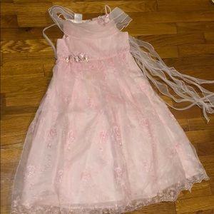 Girls Open Shoulder Pink Fancy Formal Dress